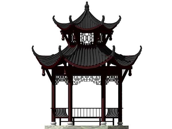 八角凉亭3d模型下载